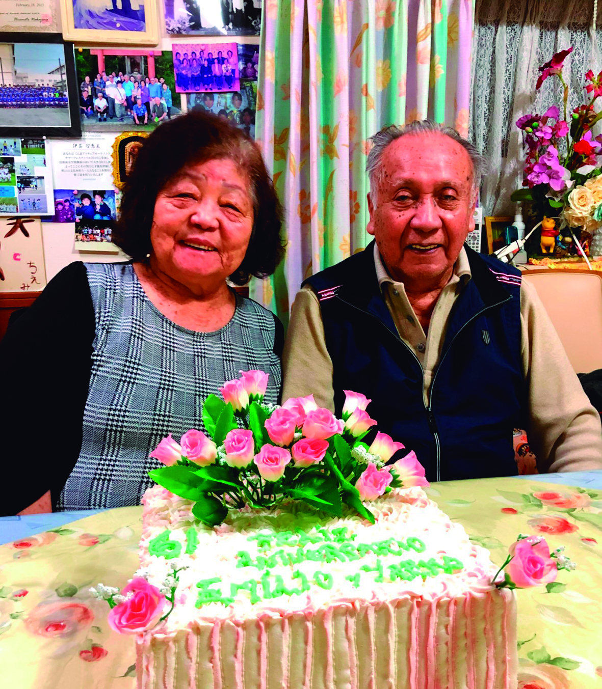 Los esposos Yaeko y Emilio Villalobos, de Gunma, celebraron hace poco 61 años de casados. Ellos esperaban recibir la primera dosis de la vacuna en abril.